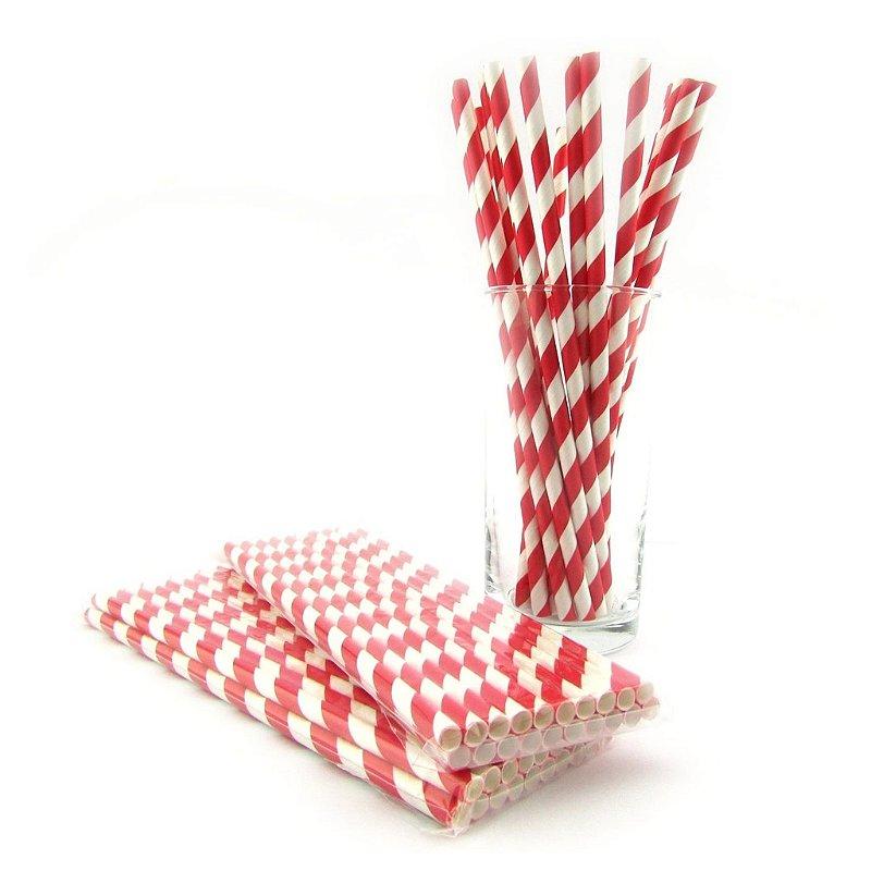 Canudos de papel - listra grossa vermelha