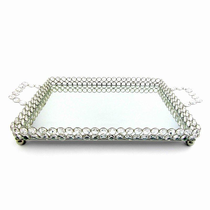 Bandeja inox retangular com pedras e espelho
