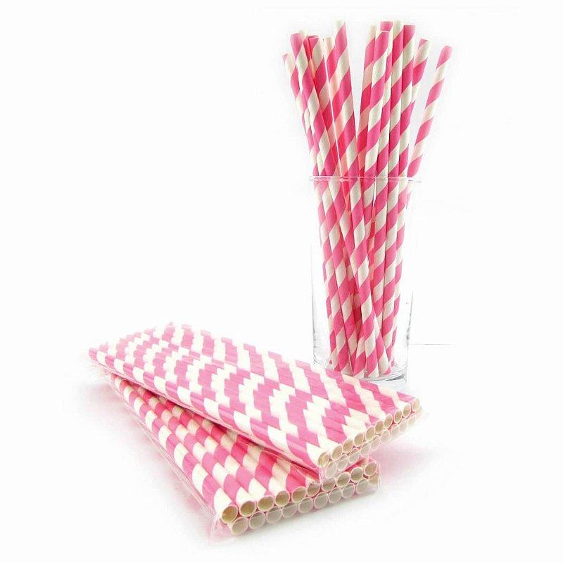 Canudos de papel - listra grossa rosa