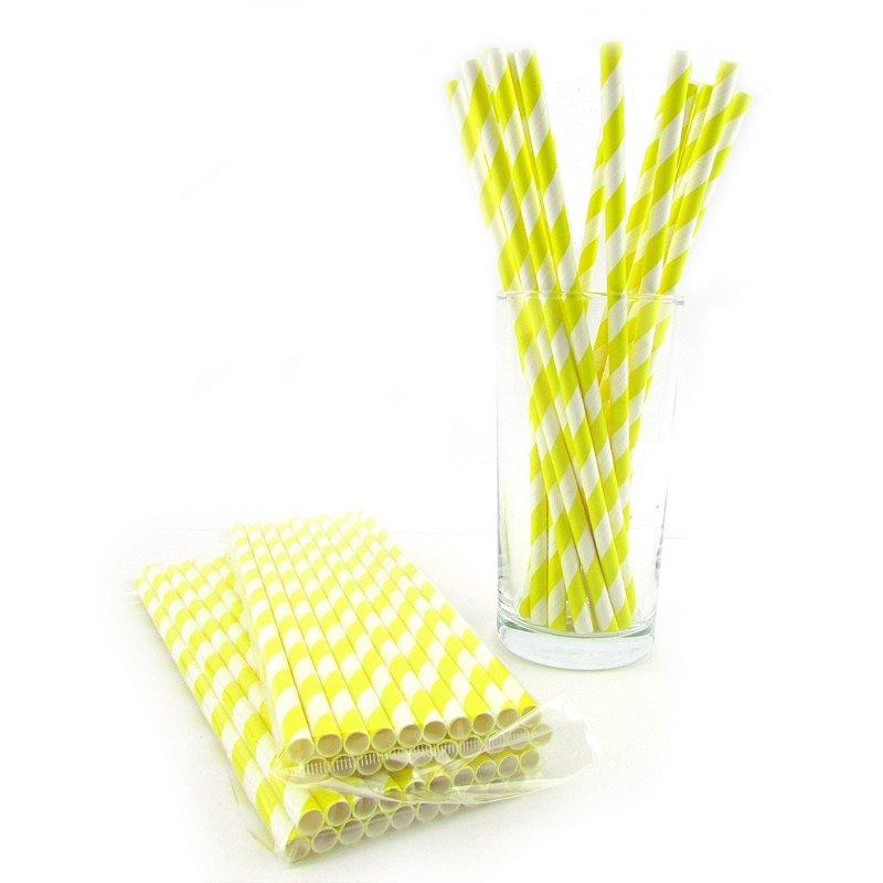 Canudos de papel - listra grossa amarela