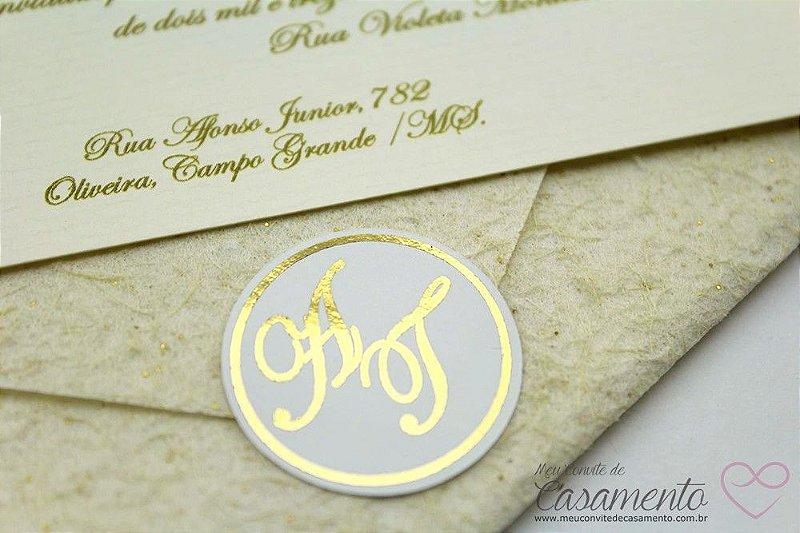 Convite Simples Monograma (Marfim)