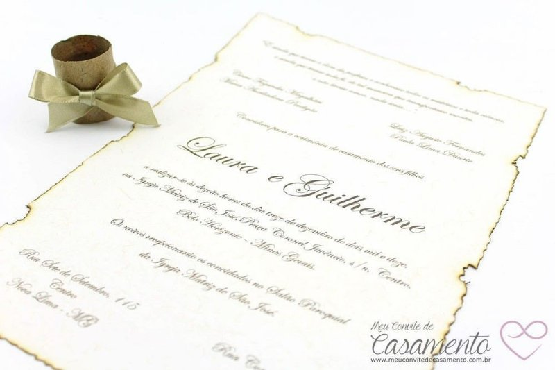 Convite Pergaminho Laço (Pergaminho)