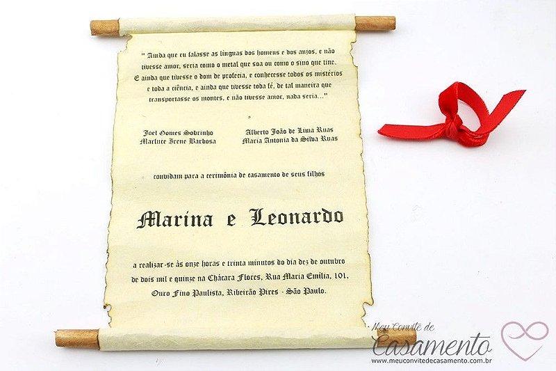Convite Pergaminho Madeira Veludo Médio (Pergaminho)