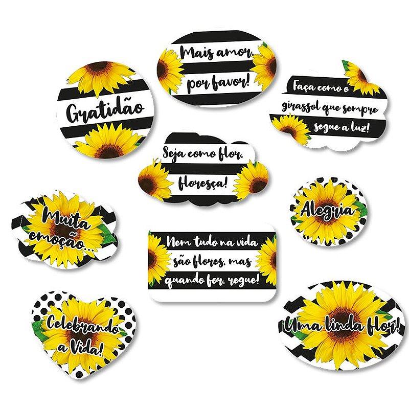 Kit Plaquinhas Festa Girassol 9 Unidades Festcolor Rizzo Festas