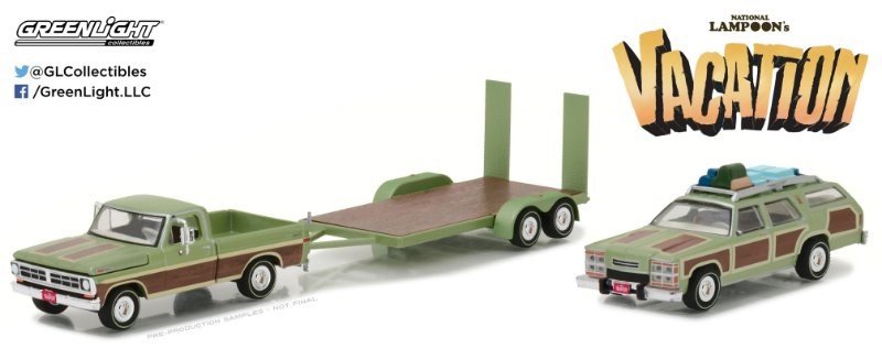 """1972 FORD F100 + 1979 FORD WAGON QUEEN + FLAT BED """"VACATION""""  1/64"""