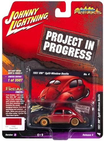 JOHNNY LIGHTNING VW FUSCA  VERMELHO PROJECT IN PROGRESS 1/64