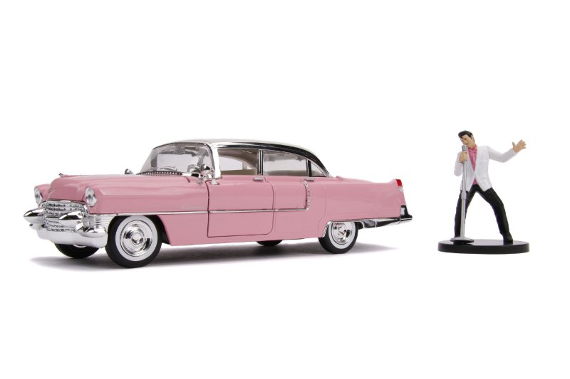 1:24 1955 CADILLAC PINK ELVIS PRESLEY COM BONECO