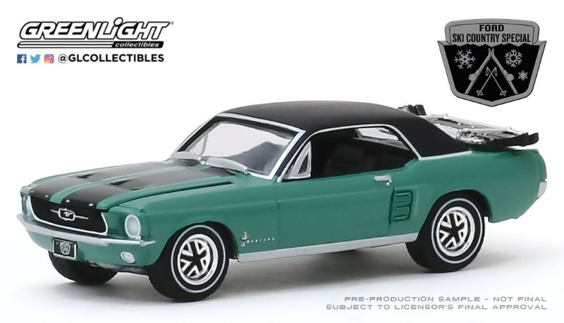 """1:64 1967 FORD MUSTANG COUPE """"SKI COUNTRY SPECIAL"""" LOVELAND GREEN"""