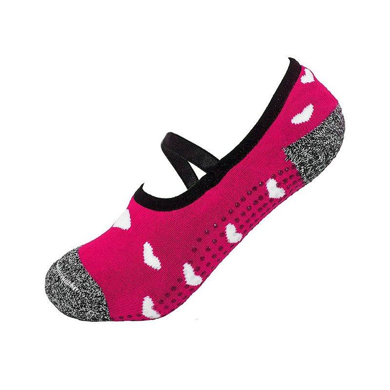 eab751638266a8 Meia Antiderrapante Pilates Rosa com Corações Ted Socks