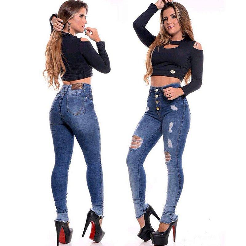659572a75 alça Jeans Premium Feminina Cintura Alta Lycra Capri Azul Aço ...