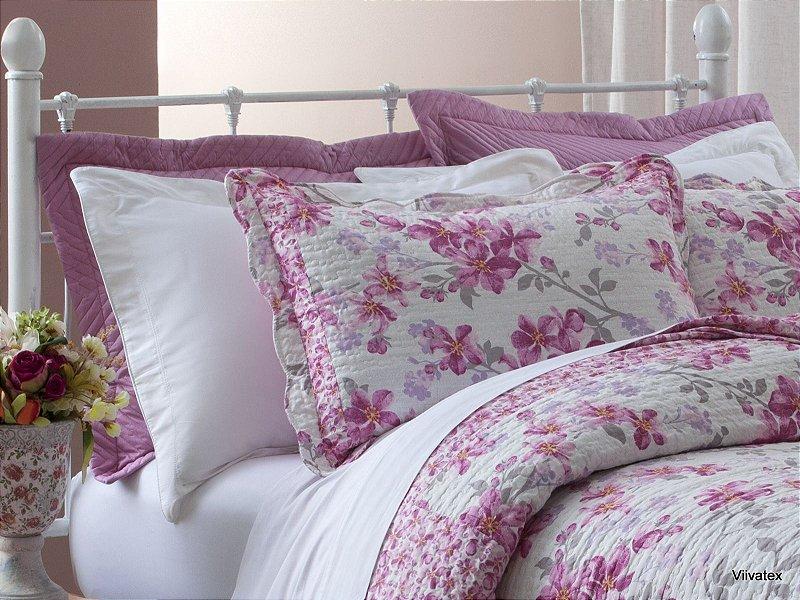bfe77bae43 Colcha Boutis Rosas Kislen Branco e Pink King 3 peças Corttex - Site de  tecidos para sofá