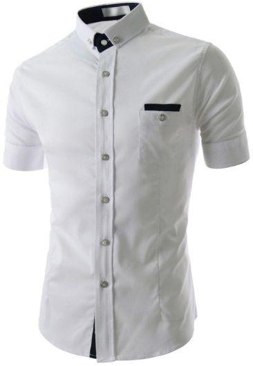70e42be1fda Camisa Social Slim Fit Manga Curta Estilo Frances