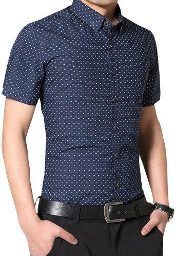 1597702809 Camisa Social Manga Curta Lançamento Slim Fit De Bolinha