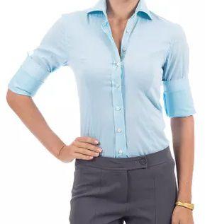 b4d3be42f353f Camisa Social Manga Longa Feminina Lisa - Lojas Norton