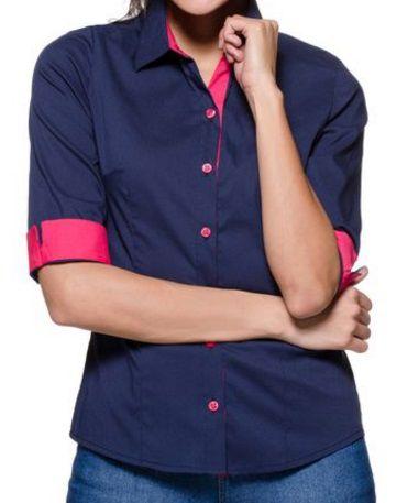 ead9bf373f73a Camisa Social Feminina Manga 3 4 Azul Marinho Detalhes Rosa