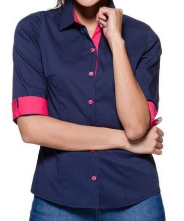 12482481d Camisa Social Feminina 3/4 Azul com Rosa | Lojas Norton - Lojas Norton