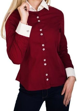 5734fe3833267 Camisa Social Feminina Manga Longa Vinho Detalhes em Branco - Lojas ...