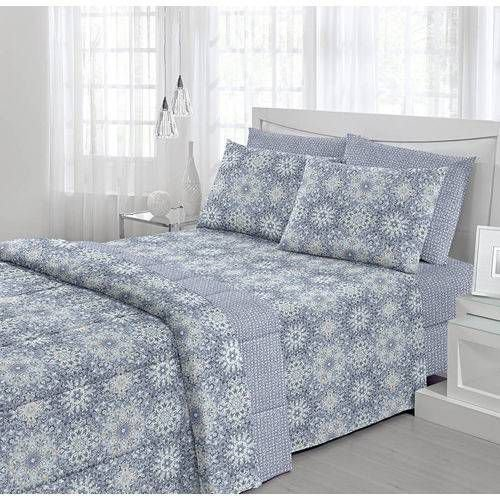 d789a61b7f Jogo de Cama Solteiro Santista Fantasia Zaira Azul - Jungles Store