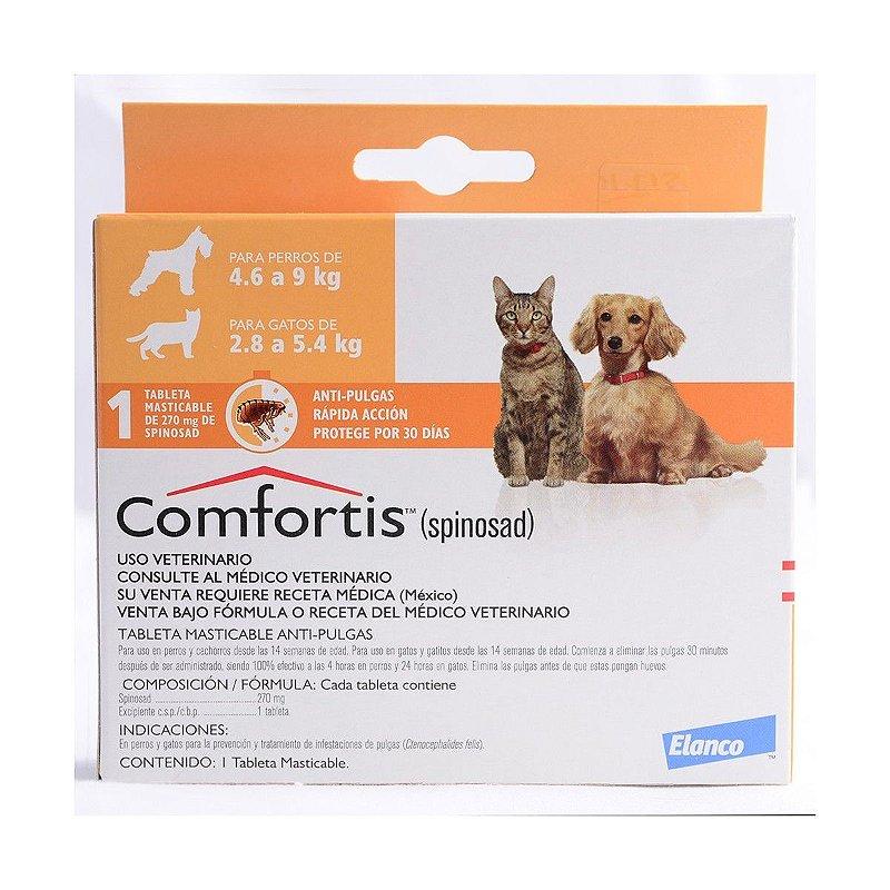 Comfortis - 270mg, Cães de 4,5 á 9kg  Gatos de 2,8 á 5,4 kg