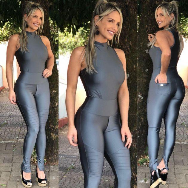 6a7f753f5 Calça Prata Nervuras - Mila Lexa Moda Fitness