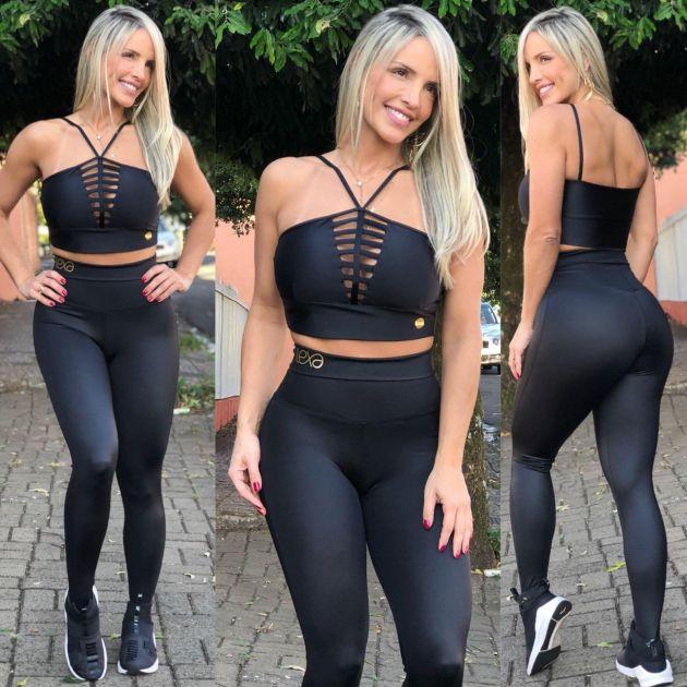 2ade24d5b Cropped Cirré Preto - Mila Lexa Moda Fitness
