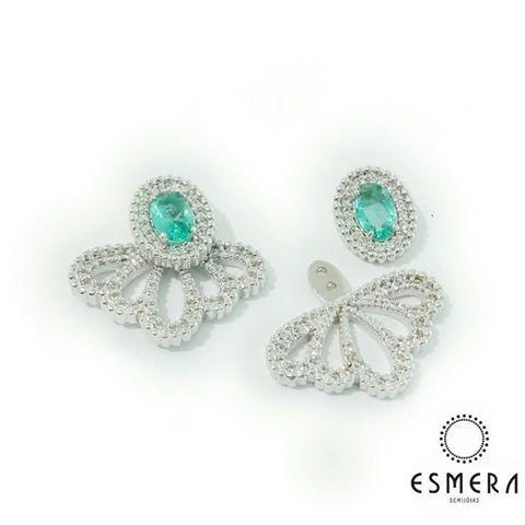 Brinco Semijoia Ear Jacket Marquezine Zirconia Tiffany