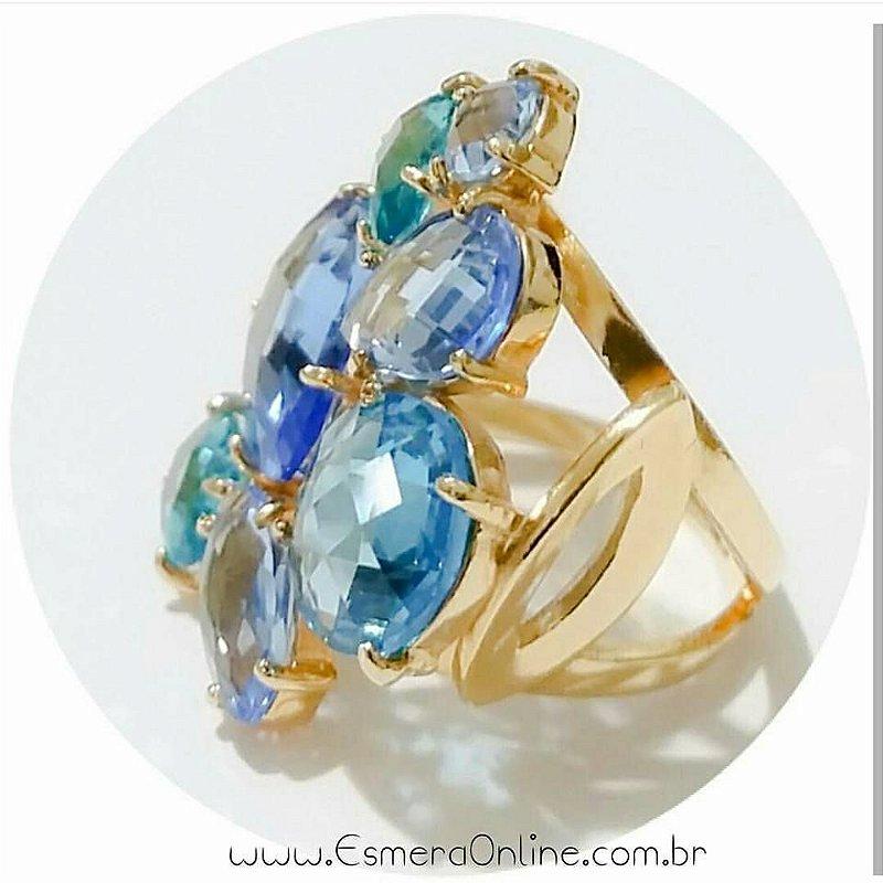 Anel Semijoia Cristal Azul