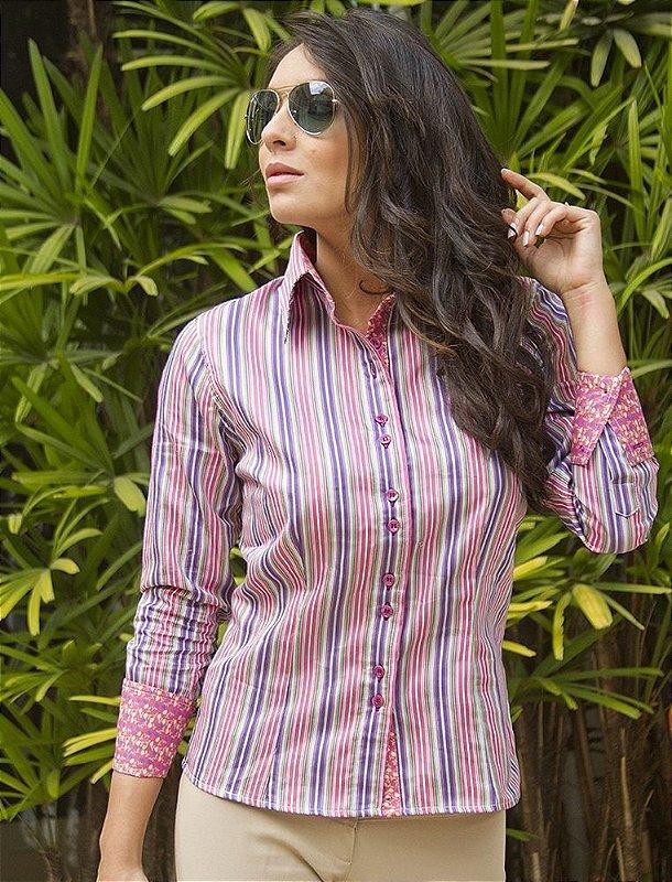 Camisa Feminina Social Listrada Rosa com composé