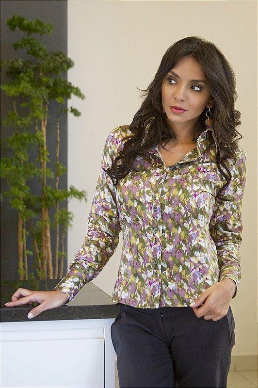 Camisa Feminina Social Floral Verde