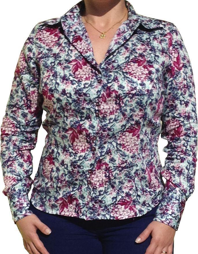 Camisa Feminina Social Floral Bordô