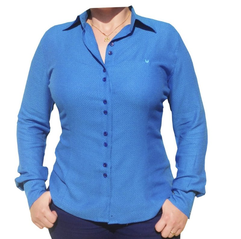 Camisa Feminina Social Viscose Azul Maquinetada