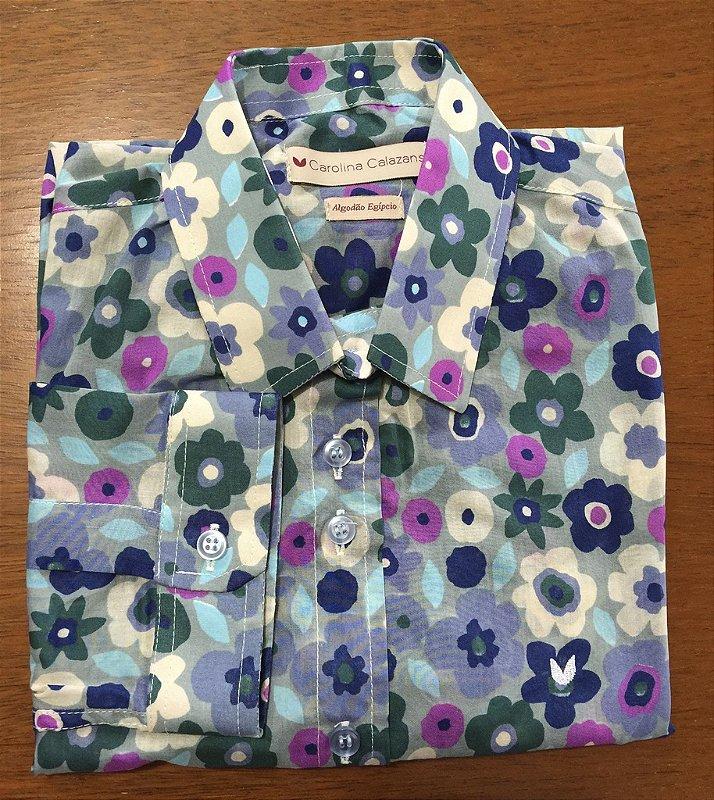 Camisa Floridinha manga 3/4 algodão egipcio