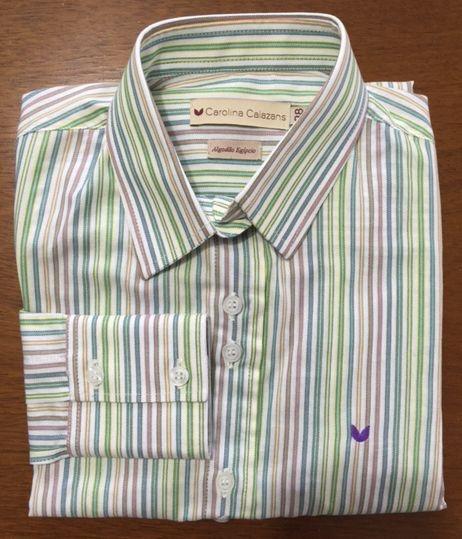 Camisa manga longa listras coloridas algodão egípcio