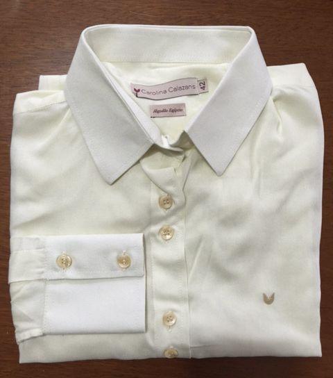 Camisa manga longa off-white viscose