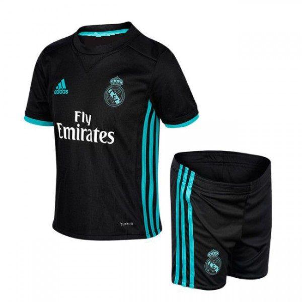 Conjunto Infantil Real Madrid Away 17 18 Torcedor Adidas Unissex Preto 4 712b70e393f99