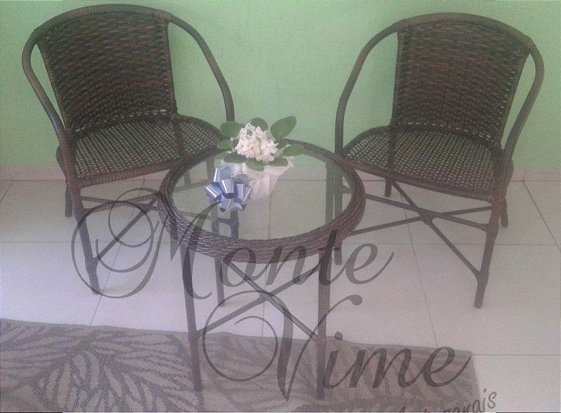 Conjunto Joy 2 cadeiras com braço + 1 mesa de apoio 0.50 diâmetro