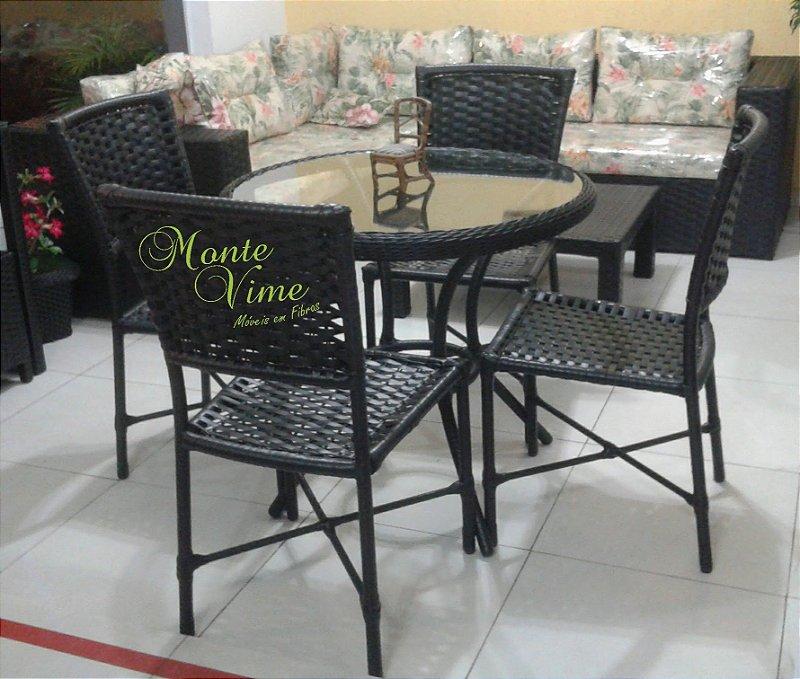 Jogo de mesa 0.80 diâmetro com 4 cadeiras big joy
