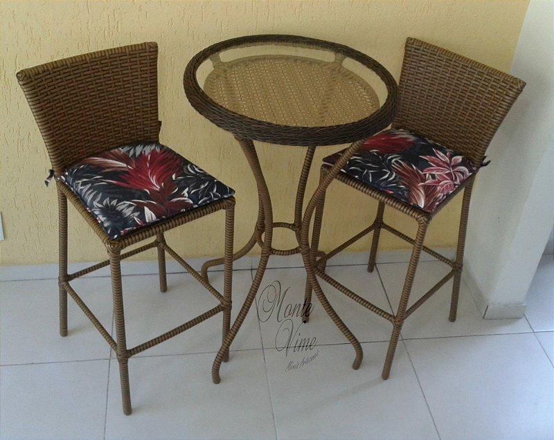 Conjunto de mesa bistrô com 2 banquetas Berlim (Estofado do assento removível)