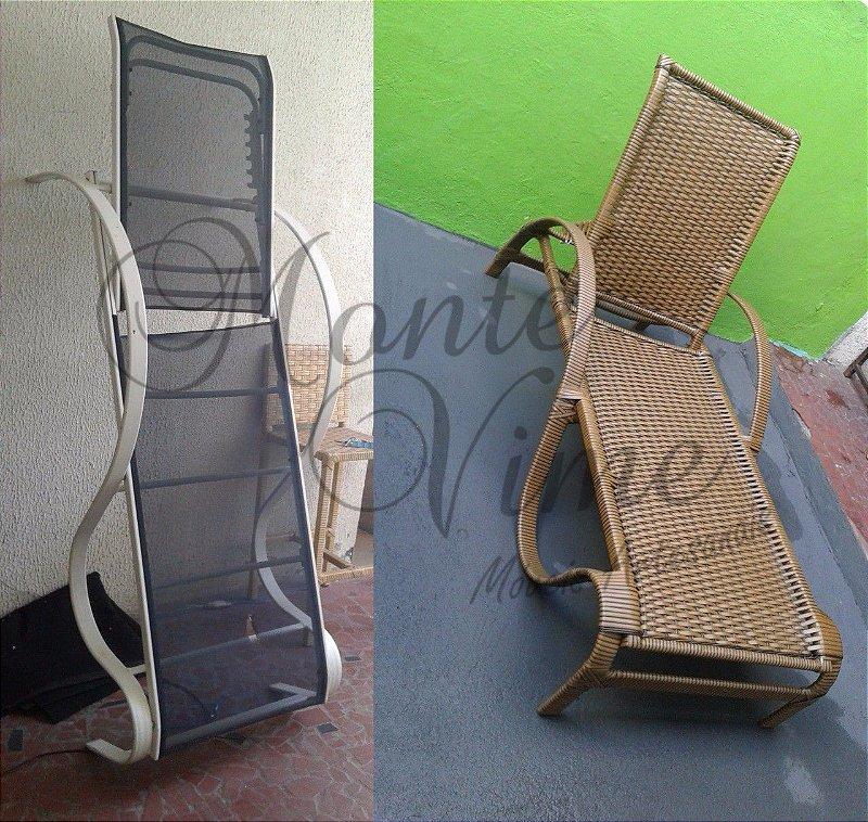 Restauração espreguiçadeira troca da tela sling por fibra sintética