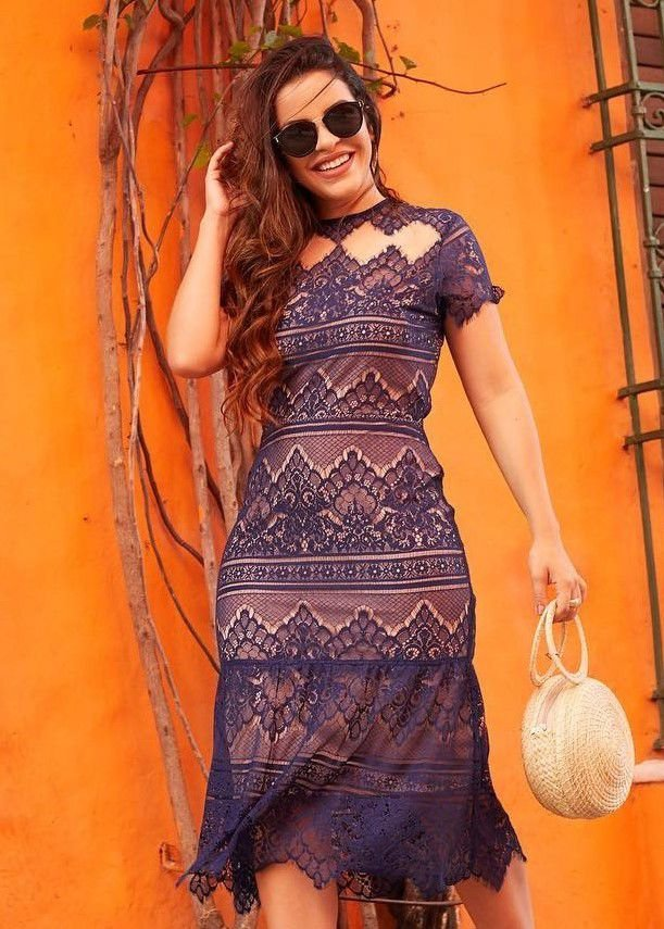 51812bd4a Vestido de Tule e Renda Bordada - Fassin Store