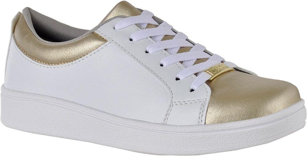 99fbde3fe6 Tênis Casual Feminino Branco com Dourado CG4030