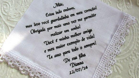 Lenço Em Linho Bordado Com Texto Para A Mãe Da Noiva