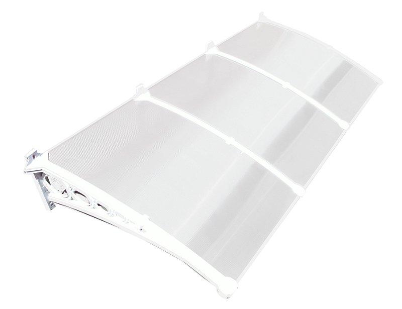 Toldo em policarbonato 1,50 metros x 0,70 cm 4mm suporte ABS Branco Leitoso - MILK