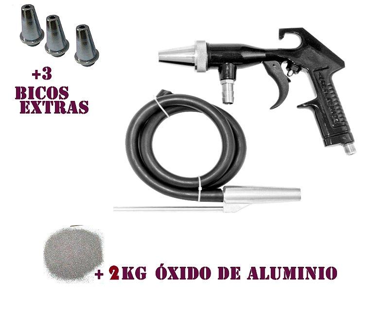 Kit De Pistola Jato De Areia + 2 kilos Oxido Sem Fp960