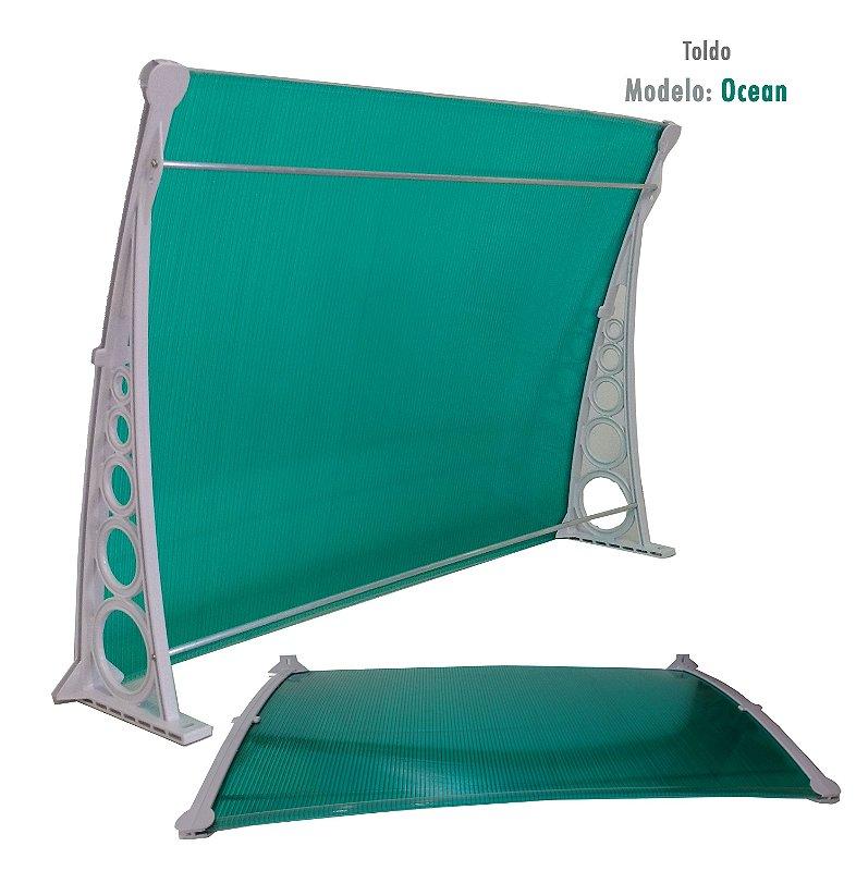 Toldo de Policarbonato 1 m x 0,70 m - 4 mm Alveolar Ocean - Verde com Suporte Branco