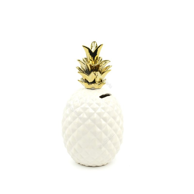 42b8d30fa Cofre em Cerâmica Abacaxi Branco e Dourado - Mimeria