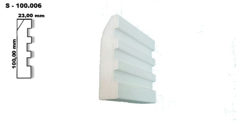 Rodateto, Molduras, Sanca de  Isopor (Poliestireno) BARRA C/ 2MTS modelo 100.006
