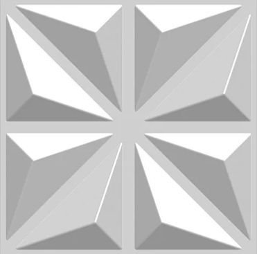 Placa 3d Auto Adesiva Stella 50x50cm (PVC)  Branco Fosco