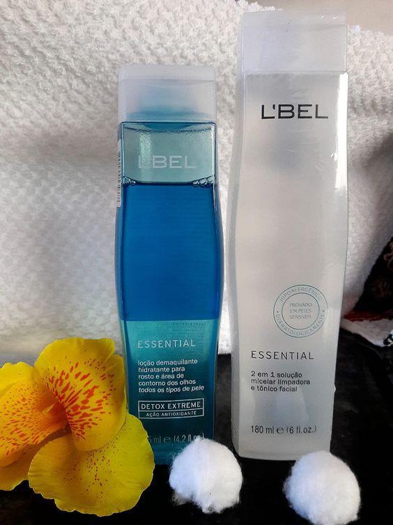 KIT: Demaquilante essential detox e água micelar essential l'bel elimina impurezas, hidrata e proporciona suavidade à pele.