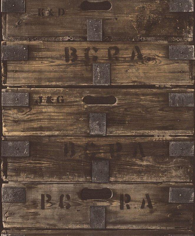 Papel De Parede Tic Tac II 10x0.53m Caixa/Madeira Marrom